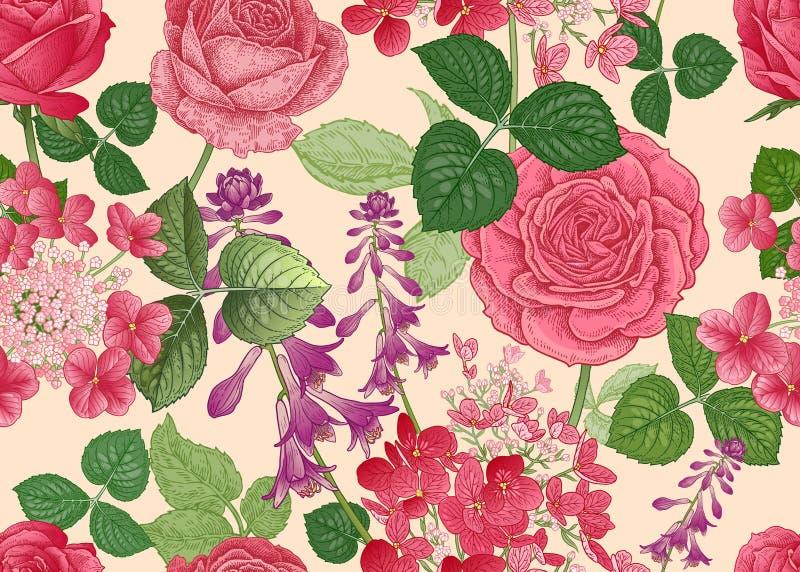флористическая картина безшовная Розы и гортензии иллюстрация вектора