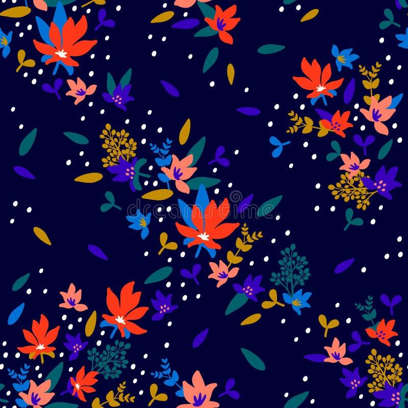 флористическая картина безшовная Картина ткани моды с декоративными маленькими цветками и листьями на полуночной голубой предпосы иллюстрация штока