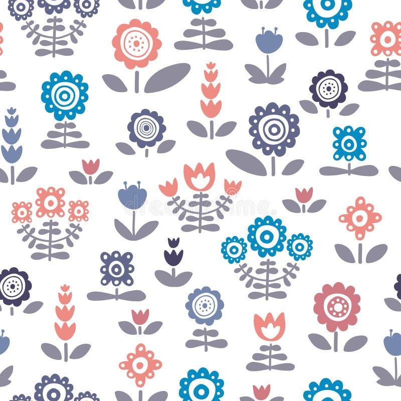флористическая картина безшовная Уникально handdrawn цветки и листья иллюстрация штока