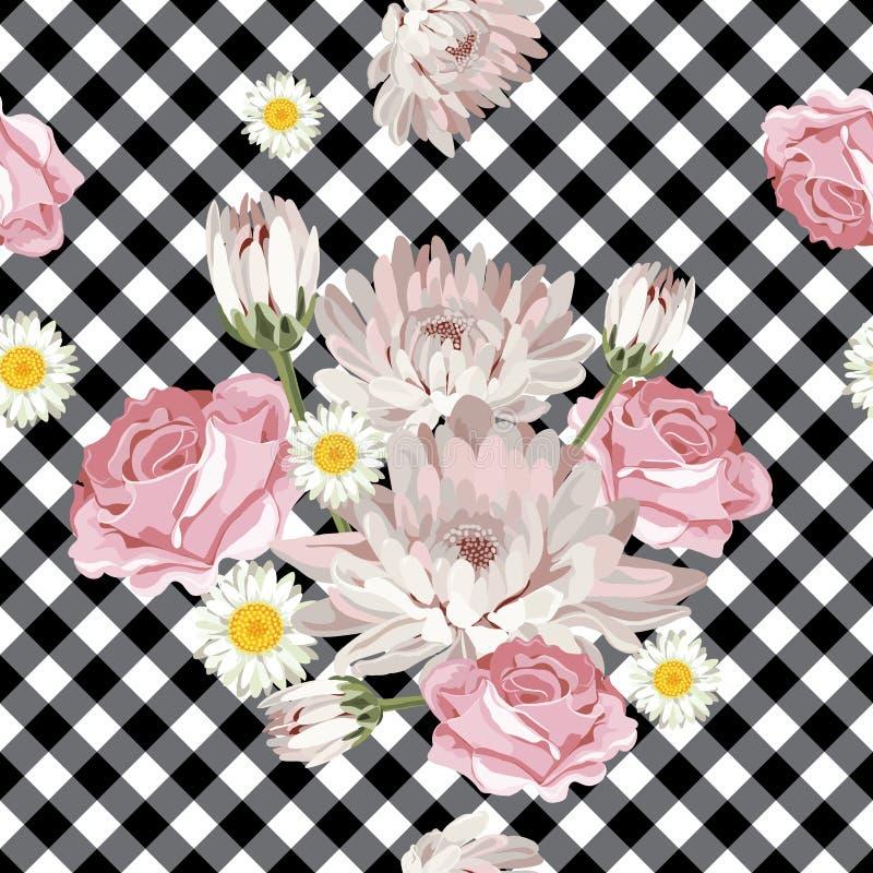 флористическая картина безшовная Хризантемы, стоцветы и розы на черно-белой холстинке, проверили предпосылку иллюстрация вектора