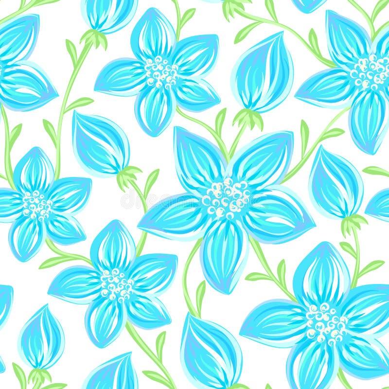 флористическая картина безшовная Цветки нарисованные рукой творческие Художническая предпосылка с цветением Абстрактная трава иллюстрация вектора