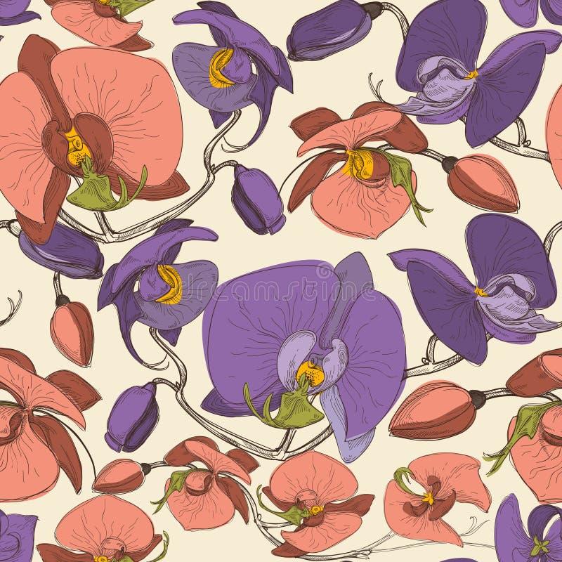 флористическая картина безшовная Цветки Ochid иллюстрация вектора