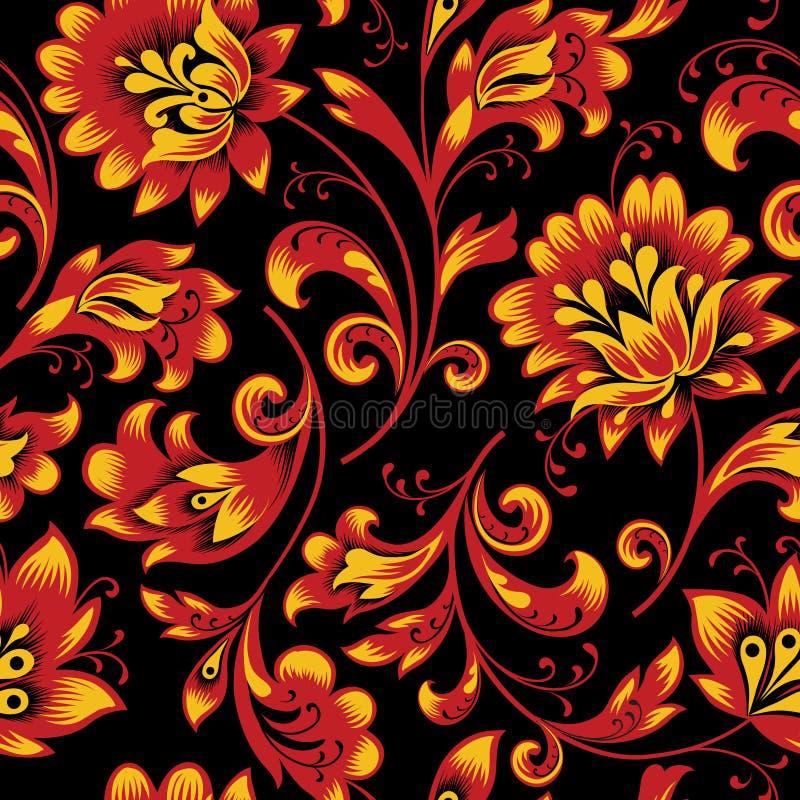флористическая картина безшовная playnig света цветка предпосылки Орнаментальный русский этнический стиль иллюстрация штока