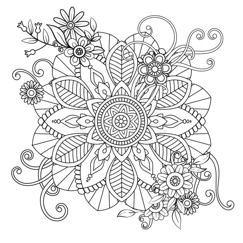 Флористическая картина мандалы иллюстрация штока