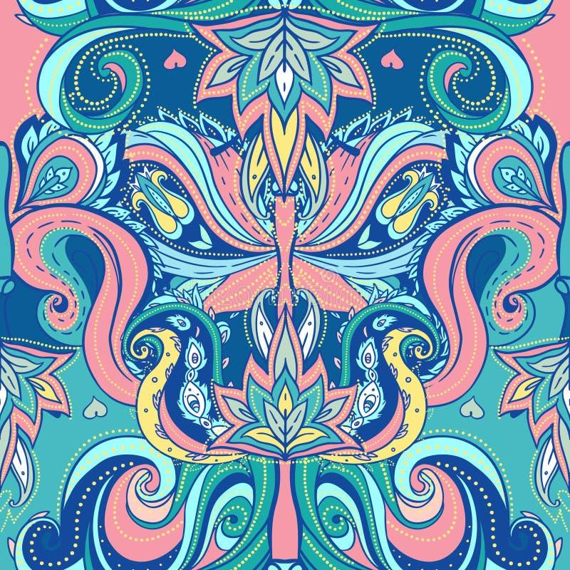 Флористическая картина paisley индийская богато украшенный безшовная бесплатная иллюстрация