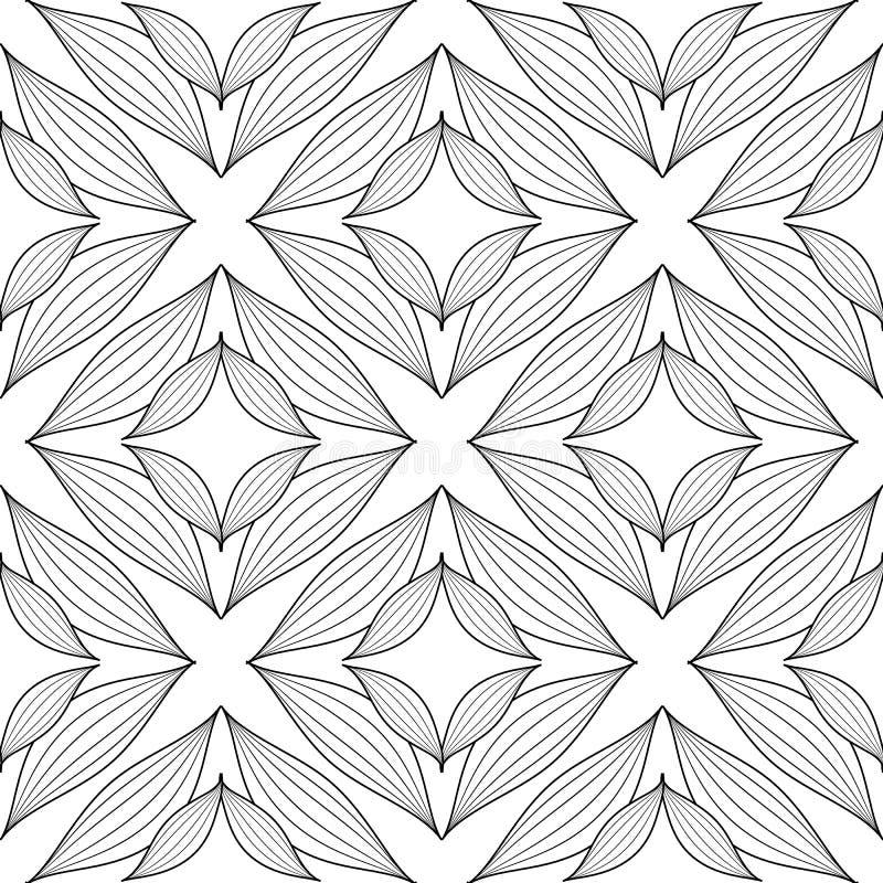 Флористическая линия картина элегантности tracery искусства безшовная Цветки черно-белой руки вычерченные абстрактные, геометриче иллюстрация штока