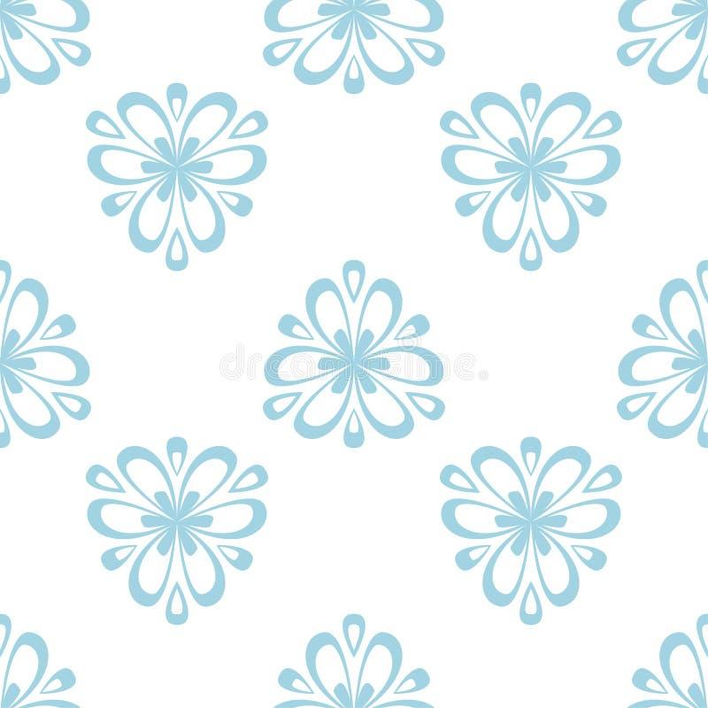 Флористическая покрашенная безшовная картина Голубая и белая предпосылка с элементами fower для обоев иллюстрация вектора