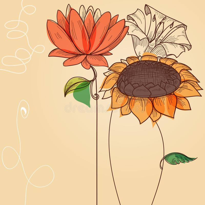 Флористическая предпосылка, милая поздравительная открытка бесплатная иллюстрация