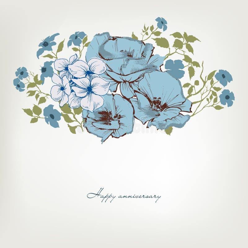Флористическая предпосылка, синь цветет букет иллюстрация вектора