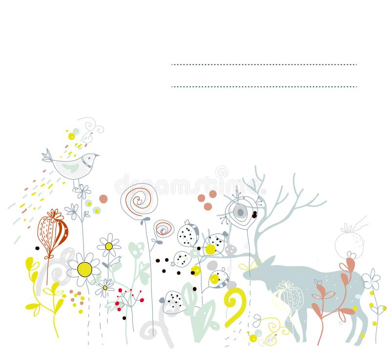 Флористическая предпосылка с оленями для карточки или знамени иллюстрация штока