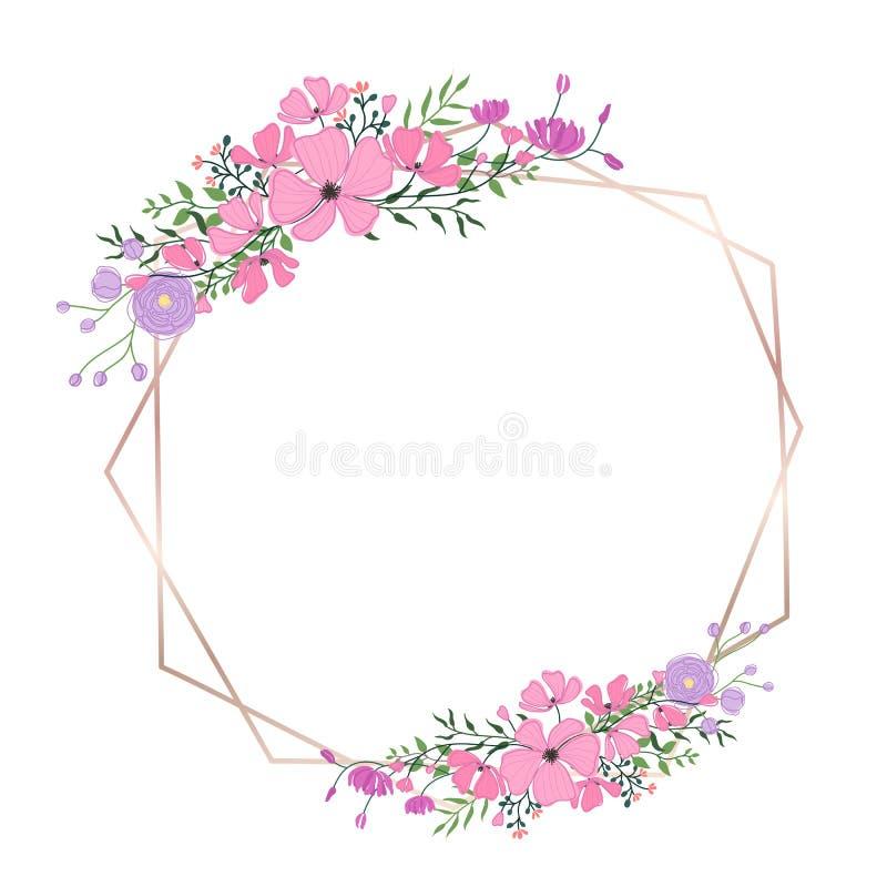 Флористическая рамка для wedding приглашения, дизайна поздравительной открытки бесплатная иллюстрация