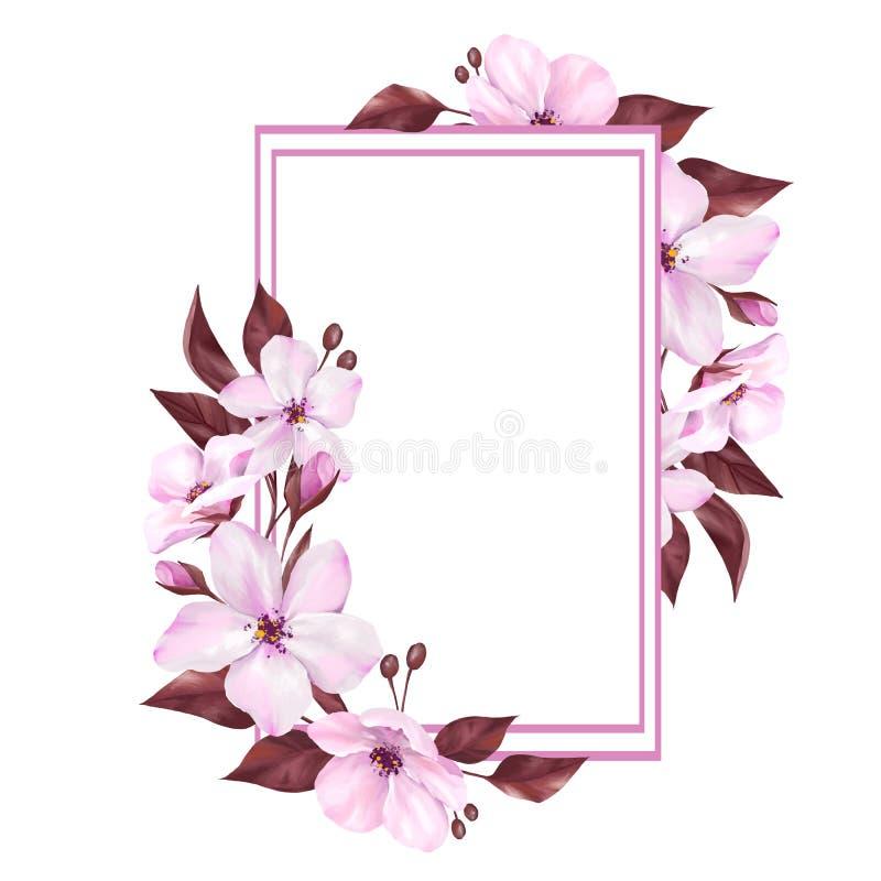 Флористическая рамка с декоративными цветками иллюстрация вектора