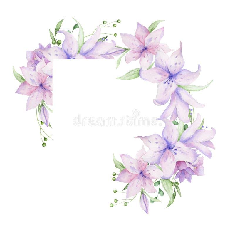 Флористическая рамка с розовыми цветками и декоративными листьями Дизайн приглашения акварели Предпосылка для того чтобы сохранит иллюстрация вектора