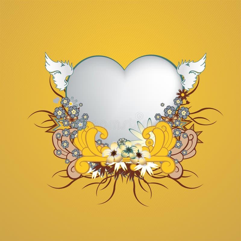 Флористическая рамка с формой сердца иллюстрация вектора