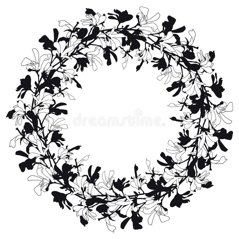 Флористическая рамка с цветением дерева магнолии в черно-белом Предпосылка с цветком ветви и магнолии Венок весны иллюстрация вектора