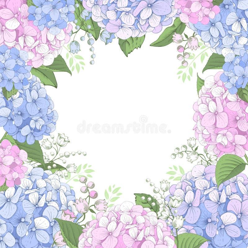 Флористическая рамка с цветками гортензии бесплатная иллюстрация