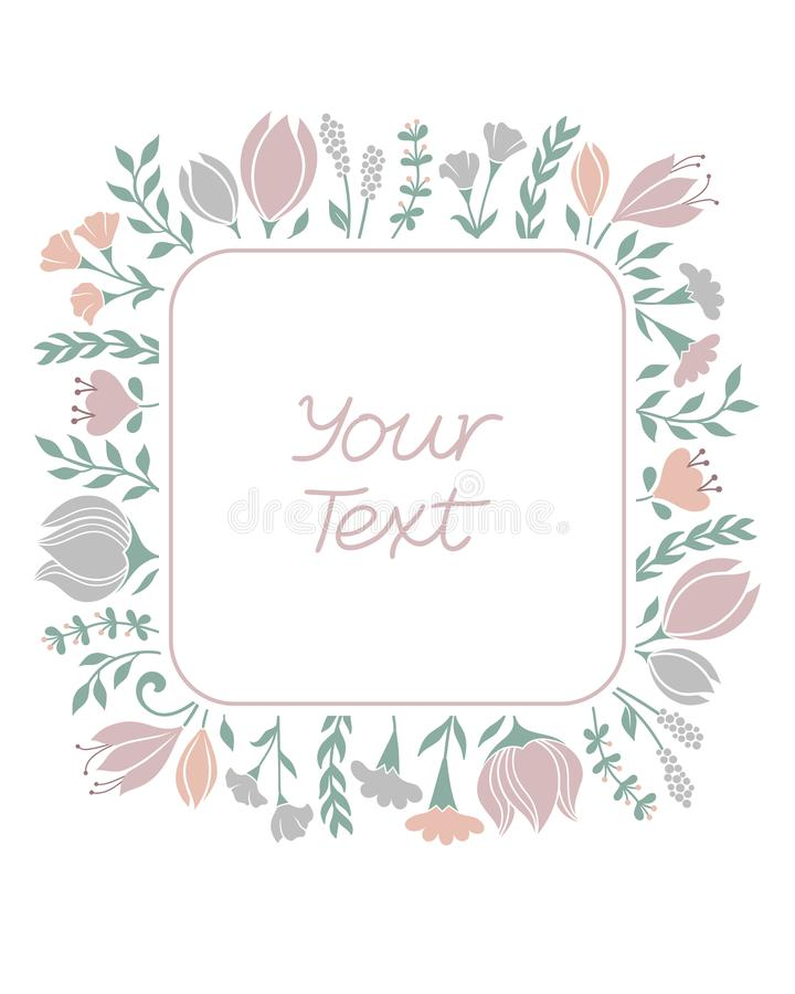 Флористическая рамка с цветками покрашенными пастелью иллюстрация штока
