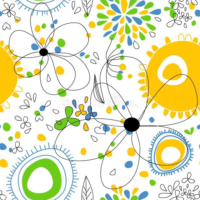 флористическая светлая картина безшовная иллюстрация вектора