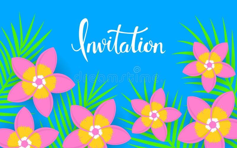 Флористическая тропическая flatlay предпосылка листьев frangipani и ладони цветка яркая красочная иллюстрация вектора