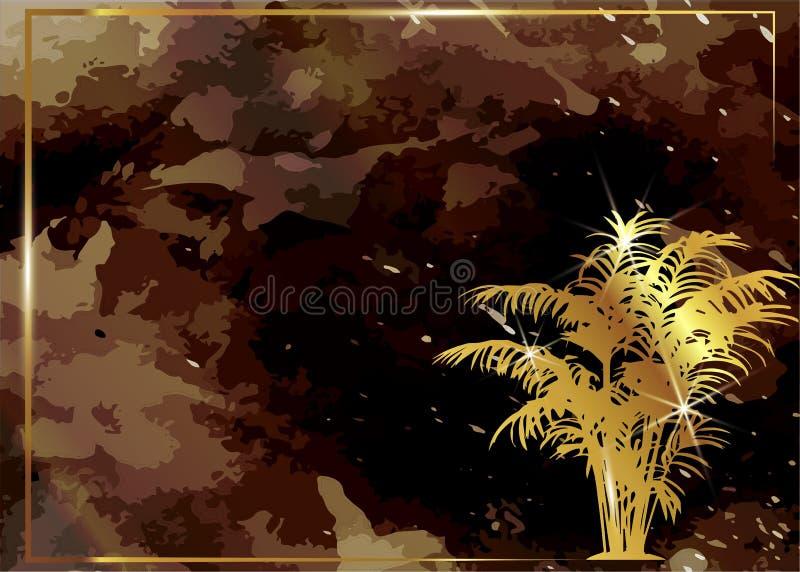 Флористическая экзотическая предпосылка и темная картина краски акварели Элегантная брошюра, золотая сияющая геометрическая рамка иллюстрация штока