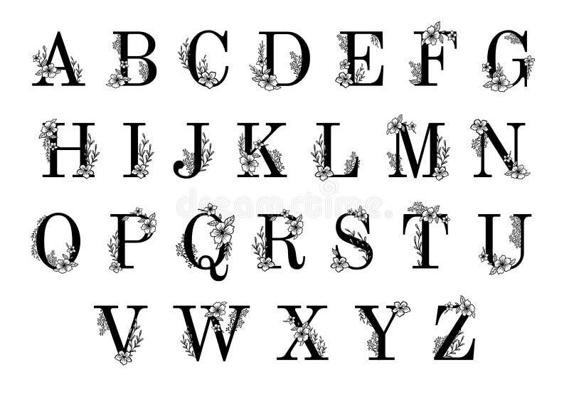 Флористические богато украшенные письма Орнаментальный вензель цветков, винтажный шрифт и вектор алфавита орнаментов sprigs цветк иллюстрация штока