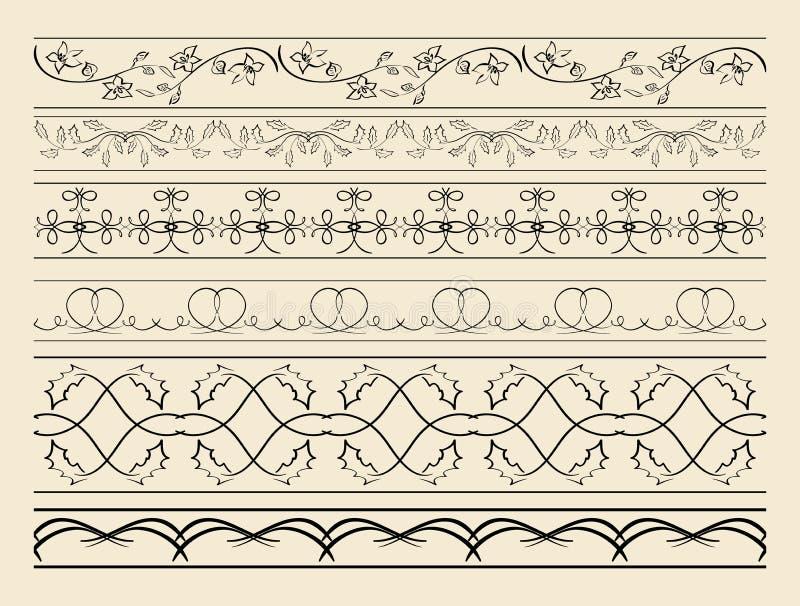 Флористические и изогнутые орнаментальные границы - комплект украшений вектора иллюстрация вектора