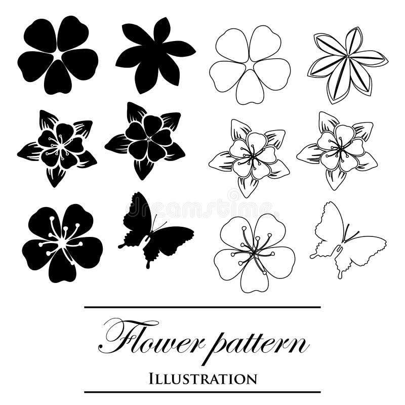 Флористические картины на белой предпосылке бесплатная иллюстрация