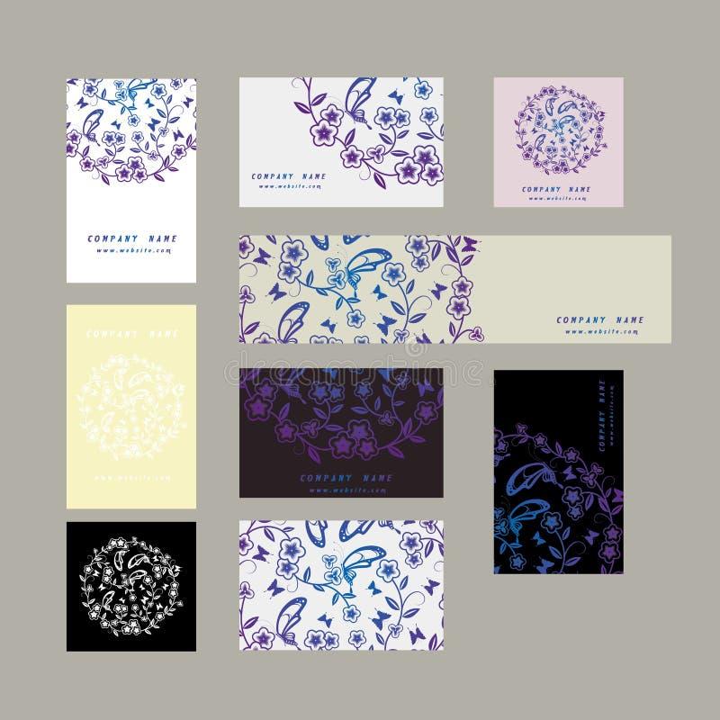 Флористические карточки цветка иллюстрация штока