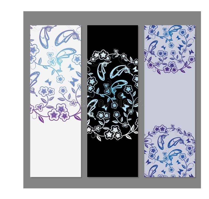 Флористические карточки цветка бесплатная иллюстрация