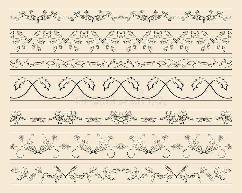 Флористические орнаментальные границы - комплект украшений вектора иллюстрация штока