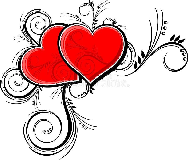флористические орнаменты сердец иллюстрация вектора