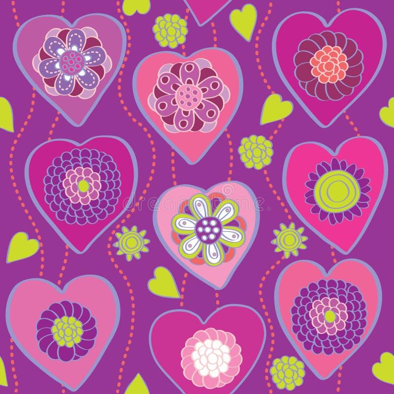 флористические сердца делают по образцу безшовное бесплатная иллюстрация