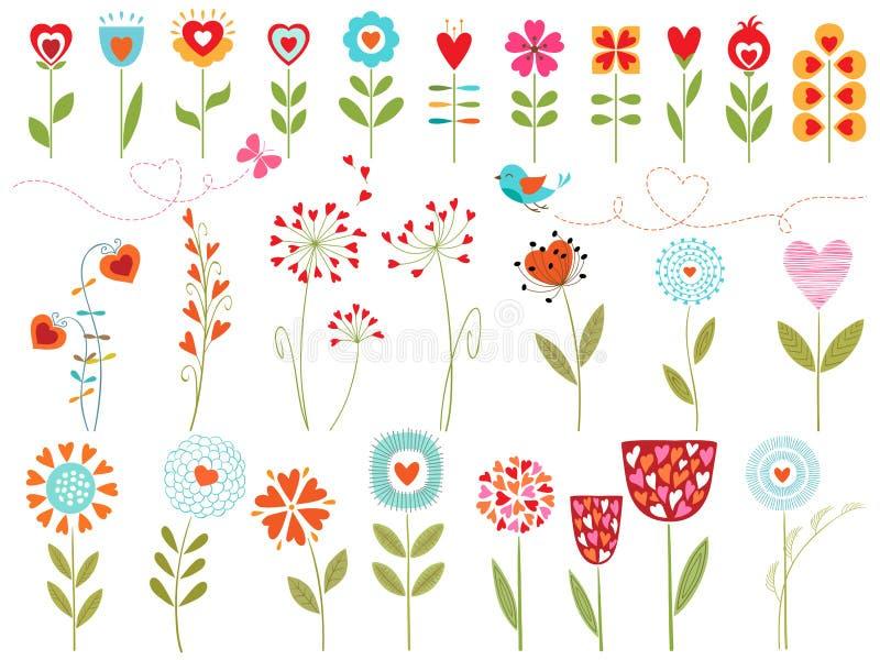 Флористические сердца бесплатная иллюстрация