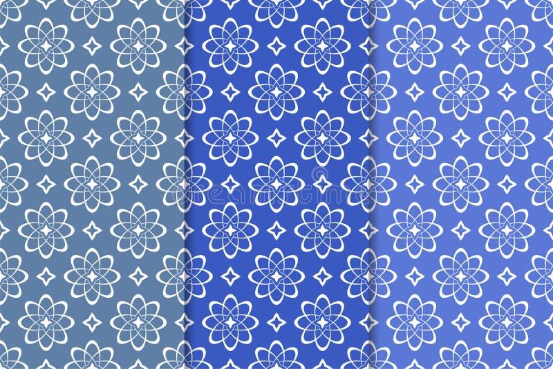 флористические установленные орнаменты Вертикальные голубые безшовные картины иллюстрация вектора