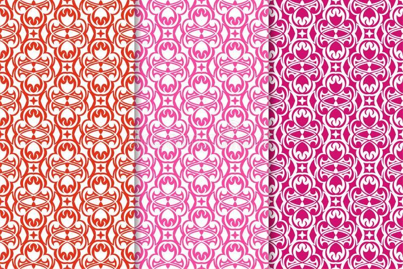 флористические установленные орнаменты Красные fuchsia безшовные картины бесплатная иллюстрация