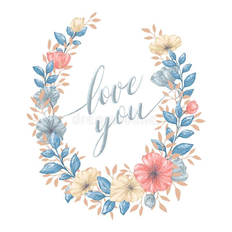 Флористический венок влюбленности бесплатная иллюстрация