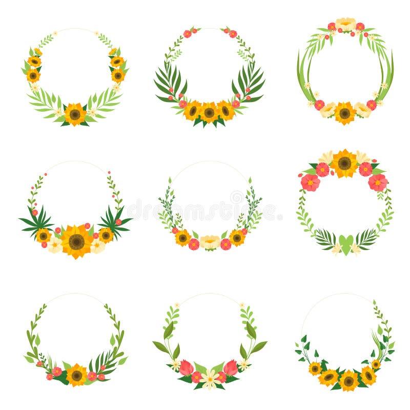 Флористический венок с солнцецветами и листьями установил, круг обрам иллюстрация штока