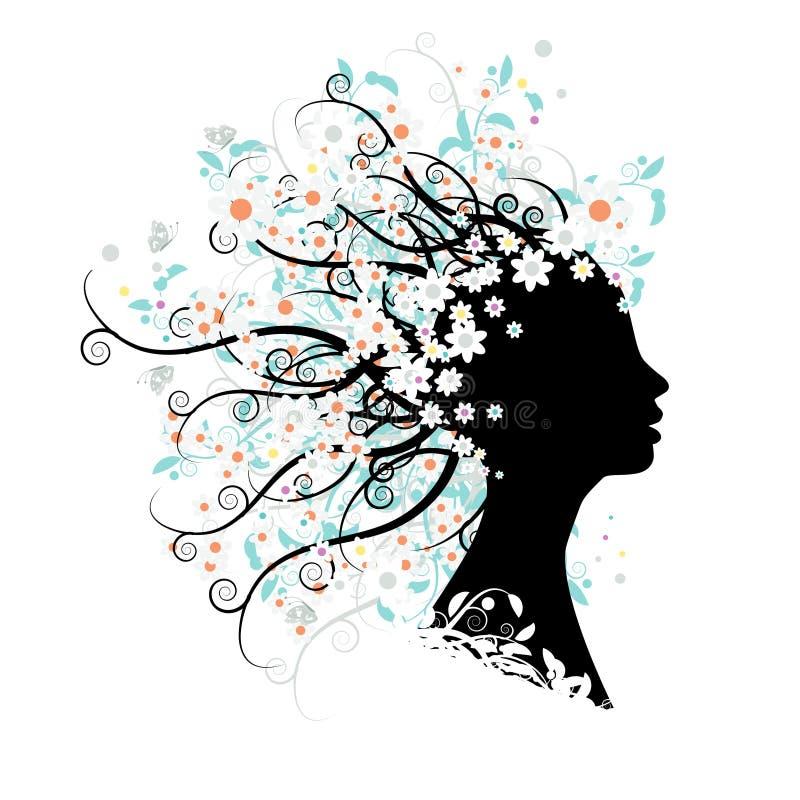 флористический головной силуэт иллюстрация штока