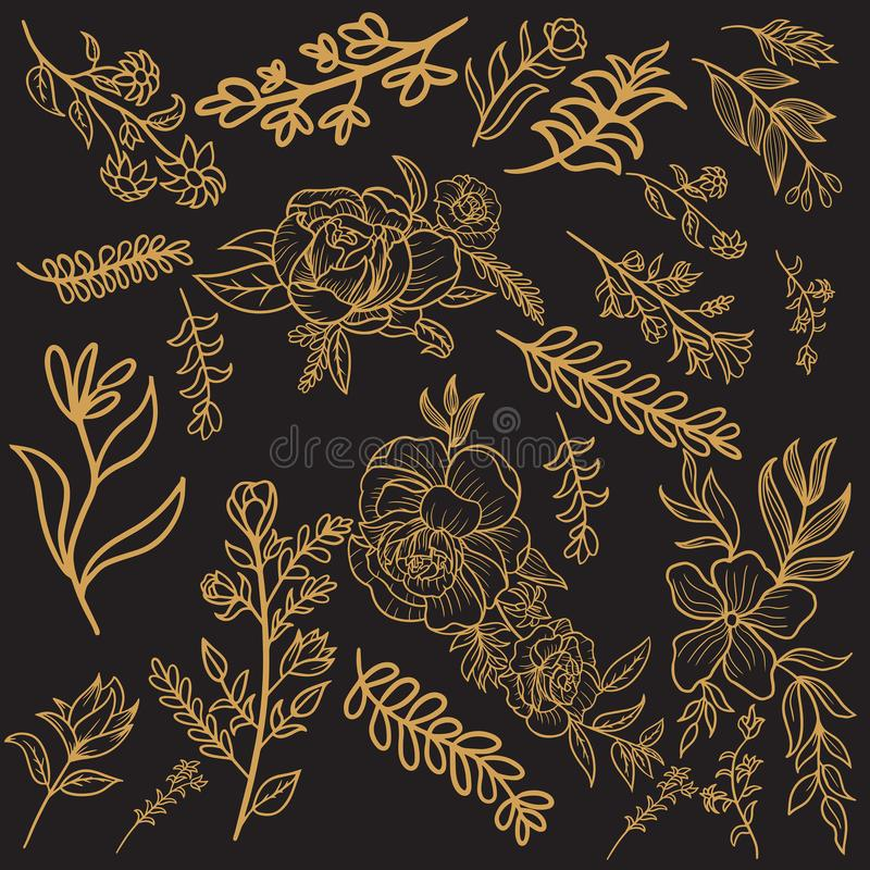 Флористический дизайн вектора золота иллюстрация вектора