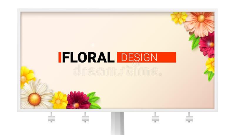 Флористический дизайн для афиши Карточка с весной, цветками лета Декоративное лето, стиль весны с маргаритками иллюстрация штока