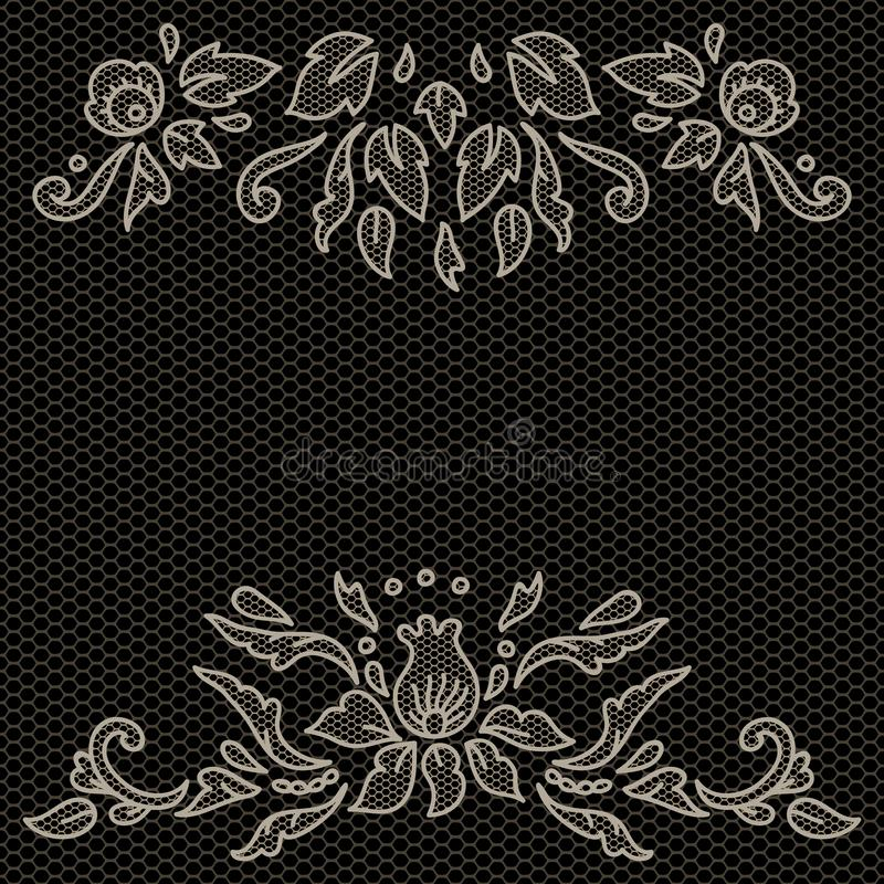 Флористический дизайн на ткани в черно-белом, рамке шнурка вектора иллюстрация вектора