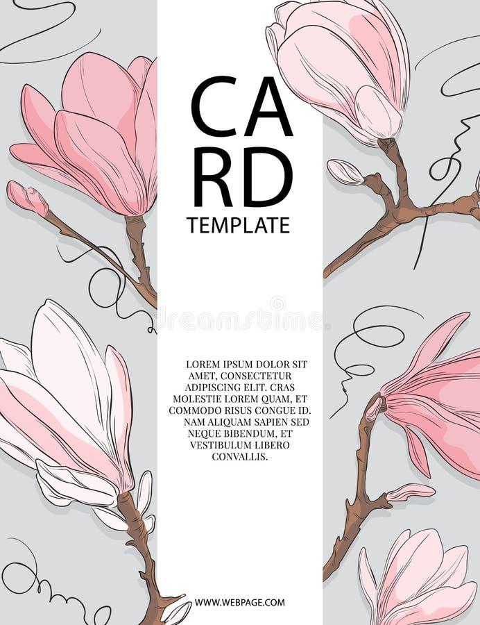 Флористический дизайн шаблона карты приглашения свадьбы с белыми и розовыми цветками магнолии Дизайн шаблона карты весны иллюстрация штока