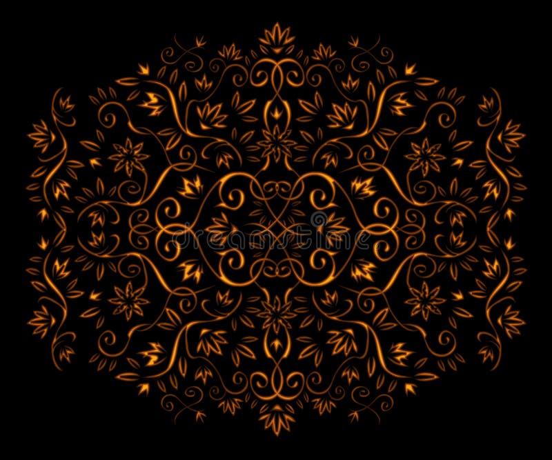 флористический золотистый орнамент иллюстрация штока