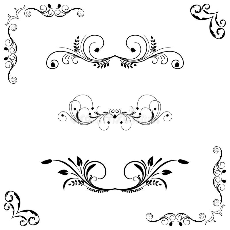 флористический комплект рамки иллюстрация вектора
