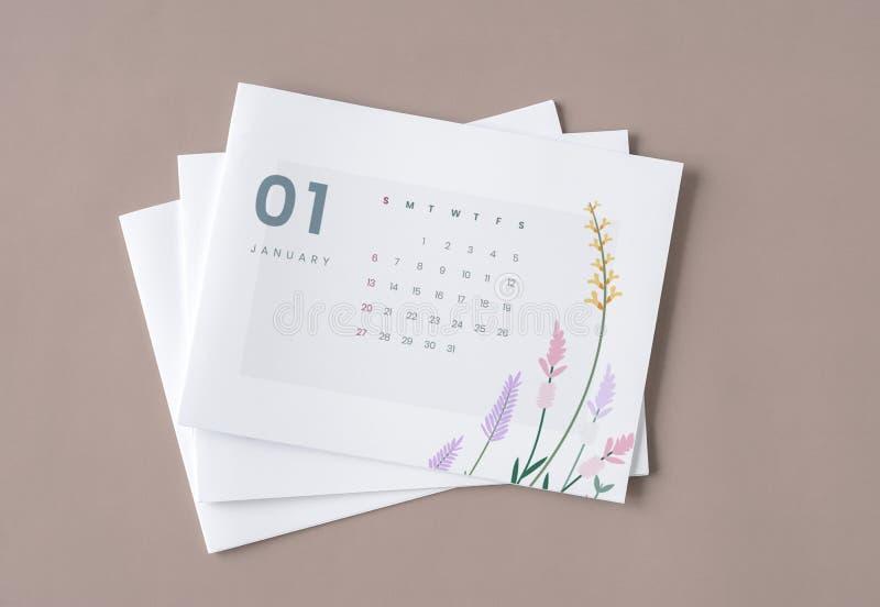 Флористический модель-макет шаблона календаря с космосом дизайна стоковое фото rf