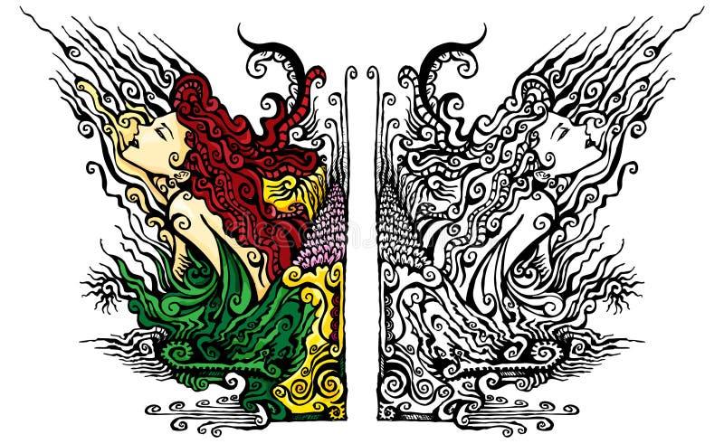 флористический орнамент богини иллюстрация вектора