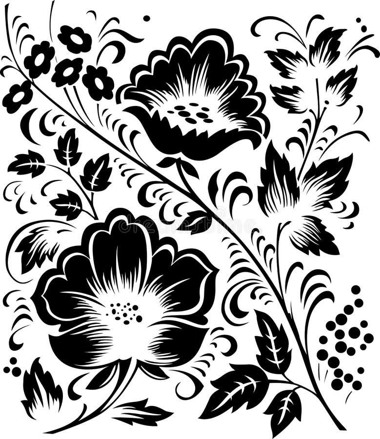 флористический орнамент Hohloma Стоковые Изображения RF