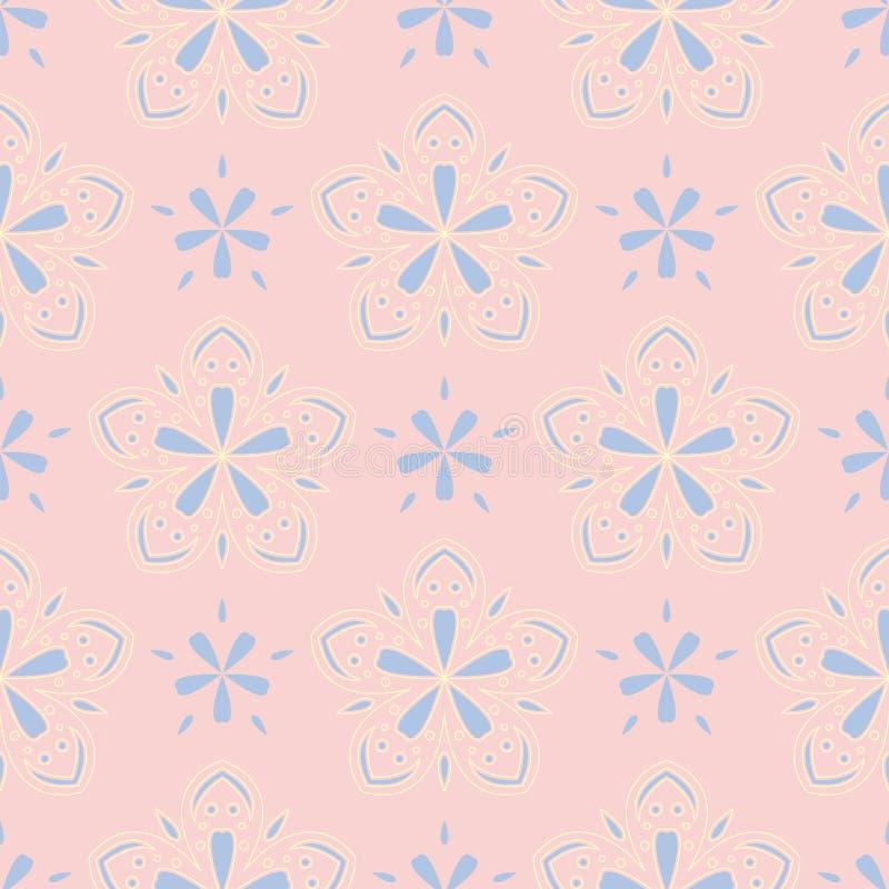 Флористический побледнейте - розовая безшовная предпосылка Цветочный узор с элементами света - голубыми и желтыми иллюстрация штока
