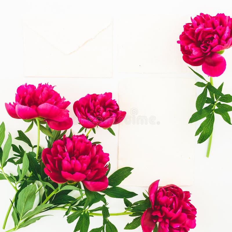 Флористический состав сделал красных цветков пиона и бумажных карт на белой предпосылке Плоское положение, взгляд сверху стоковые фото