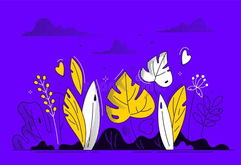 Флористический состав - современная плоская иллюстрация стиля дизайна иллюстрация вектора